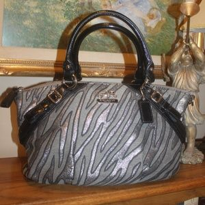 Coach Black Silver Gray Vintage Handbag 2 handles